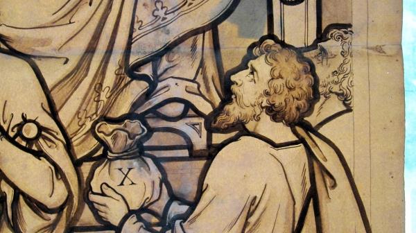 Seaham England 1885 Christ Church Anglican Cartoon central light detail 4